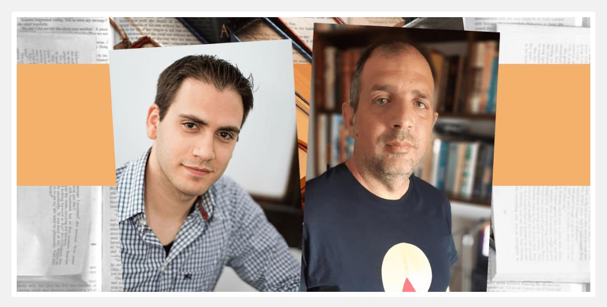 Οι ιδρυτές της πλατφόρμας Metabook Δημήτρης Σαββόπουλος (αριστερά) και Γιάννος Κατσιριντάκης.  CreativeProtagon/Metabook